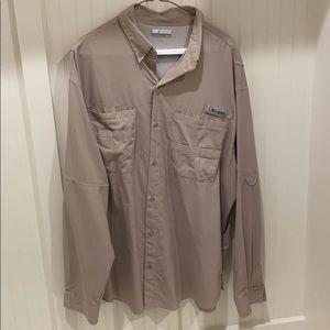 Tan long sleeve Columbia PFG shirt